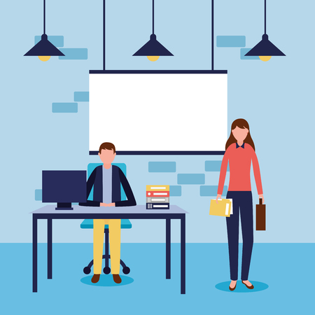 business woman and man working office vector illustration Иллюстрация