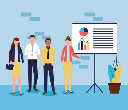 business people office working presentation statistics vector illustration