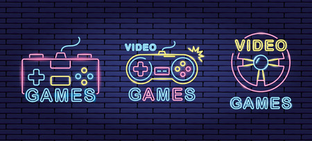 controls video game neon background vector illustration