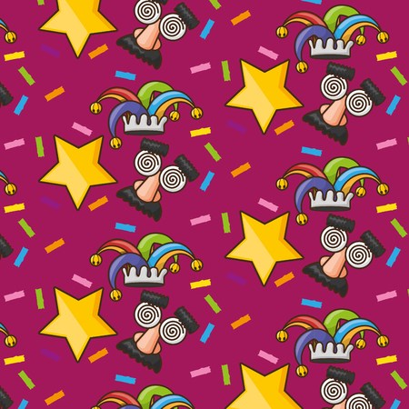 background funny glasses hat star confetti april fools day vector illustration
