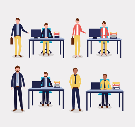 business people office holding briefcase sitting vector illustration