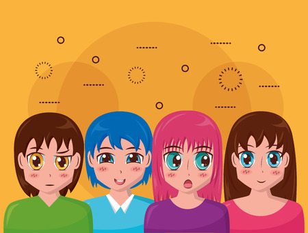 anime girl group manga comic vector illustration Banco de Imagens - 125214269