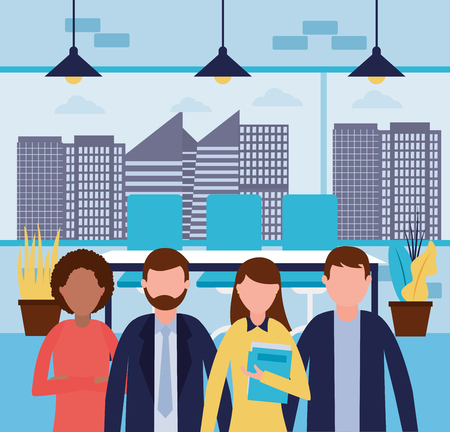 business people work office together vector illustration