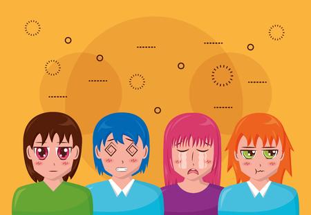 anime girls manga portrait character vector illustration