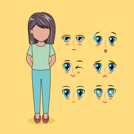 girl with eyes and mouths face anime vector illustration