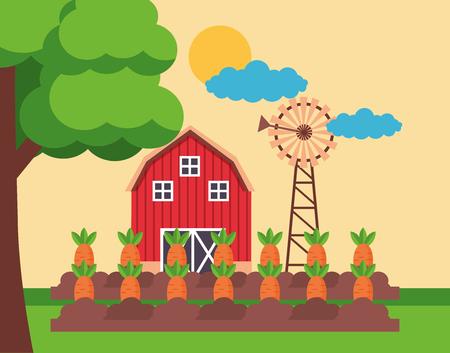 barn carrot planting windmill farm fresh cartoon vector illustration
