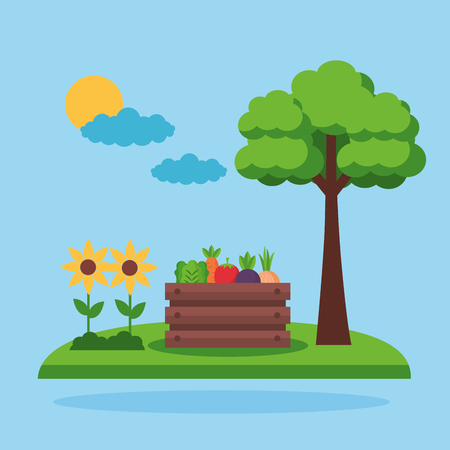 basket with vegetables and flowers farm fresh cartoon vector illustration