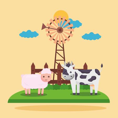 windmill sheep and cow farm fresh cartoon vector illustration
