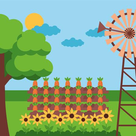 windmill carrot planting flowers farm fresh cartoon vector illustration Ilustracja