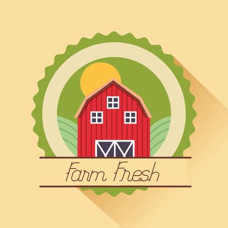 barn farm fresh cartoon badge vector illustration
