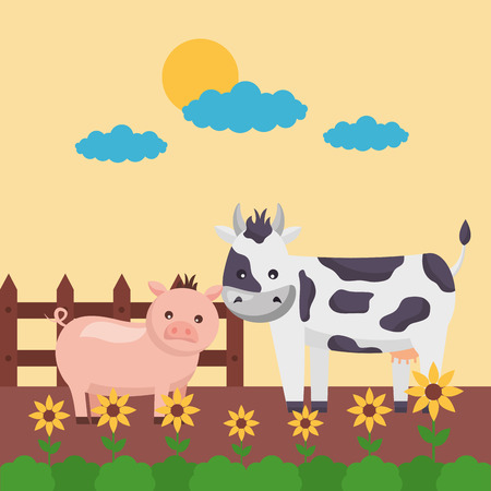 cow and pig flowers planting farm fresh cartoon vector illustration