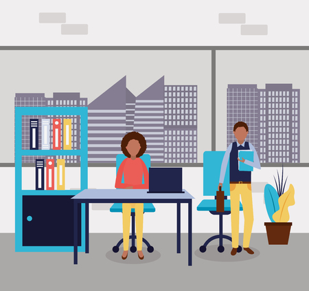 business office afroamerican woman and man working vector illustration