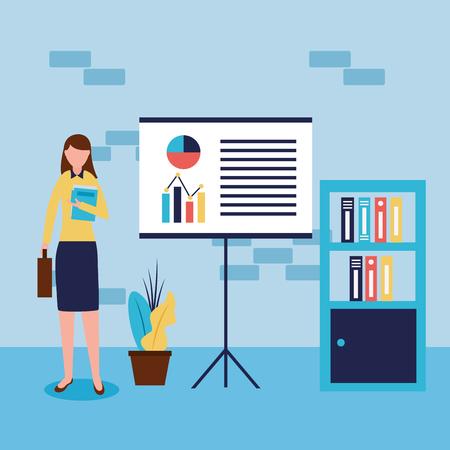 businesswoman office working statistics graphic vector illustration