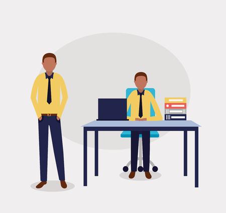 business office afroamerican man working vector illustration Illustration