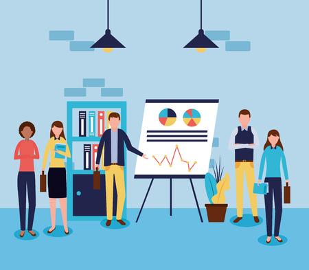working presentation statistics business people office vector illustration Иллюстрация