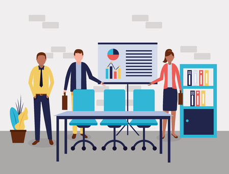business people office doing presentation graphics vector illustration