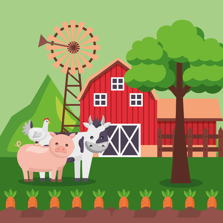 Schwein Kuh Huhn Karotten Mühle Scheune Bauernhof frische Cartoon-Vektor-Illustration