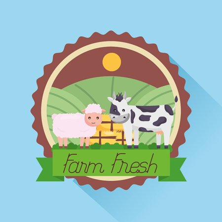 sheep and cow badge farm fresh cartoon vector illustration