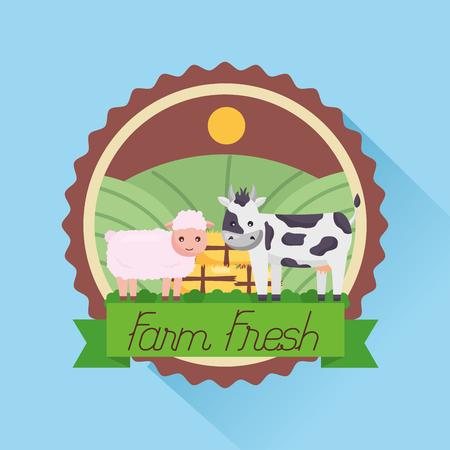 sheep and cow badge farm fresh cartoon vector illustration