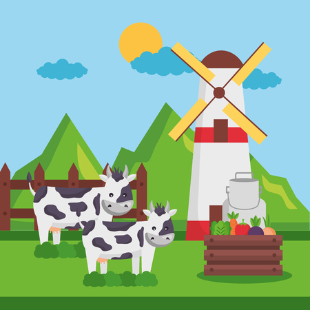 cows mill and vegetables land farm fresh cartoon vector illustration