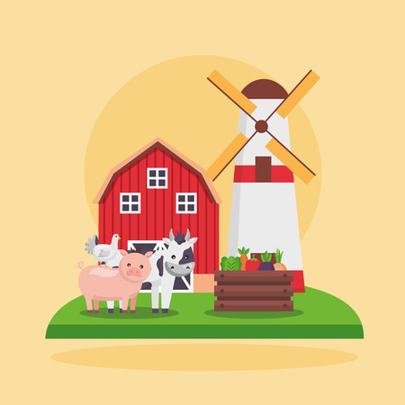 pig cow chicken vegetables mill barn farm fresh cartoon vector illustration
