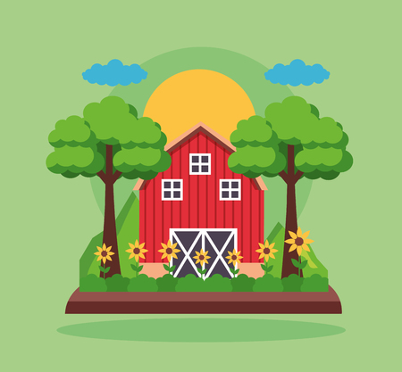 barn flwoers planting trees farm fresh cartoon vector illustration