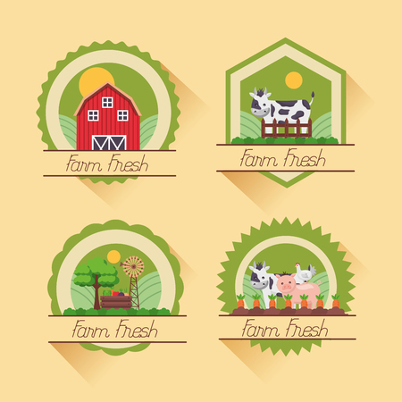 farm fresh cartoon badges collection vector illustration