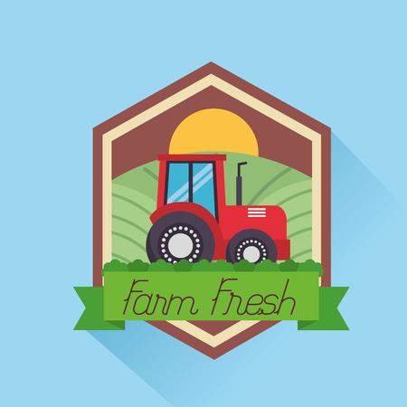 tractor agriculture farm fresh cartoon vector illustration