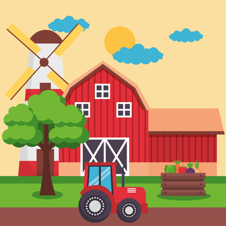 barn tractor vegetables tree farm fresh cartoon vector illustration Illusztráció