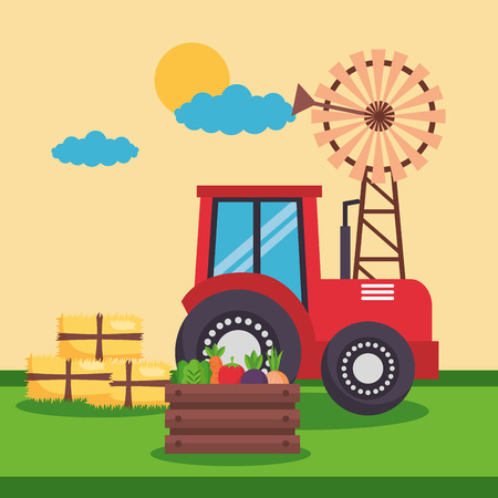 windmill tractor bales of hay and vegetables farm fresh vector illustration