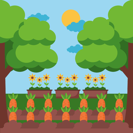 carrots planting potted flowers trees farm fresh cartoon vector illustration