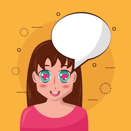 anime girl manga speech bubble character vector illustration