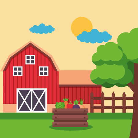barn and basket with vegetables farm fresh cartoon vector illustration