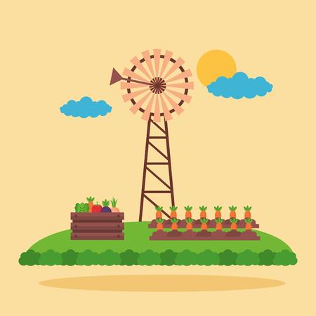 windmill vegetables and carrot planting farm fresh cartoon vector illustration Ilustrace