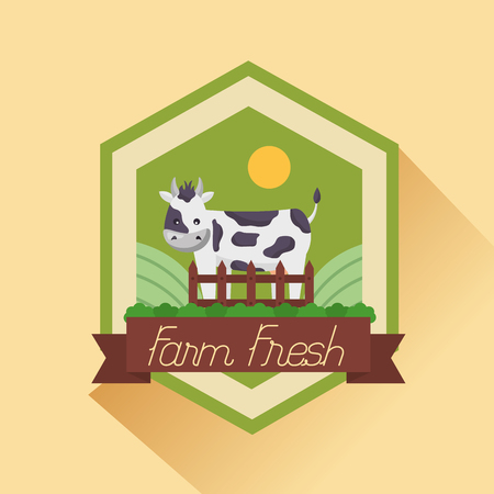 cow farm fresh cartoon badge vector illustration Foto de archivo - 117074004