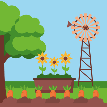 windmill potted flowers and carrot planting farm fresh cartoon vector illustration