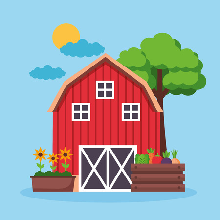 barn flowers and vegetables farm fresh cartoon vector illustration Illustration