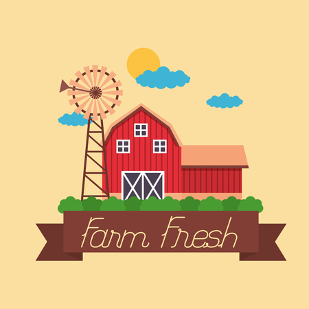 barn windmill farm fresh cartoon vector illustration