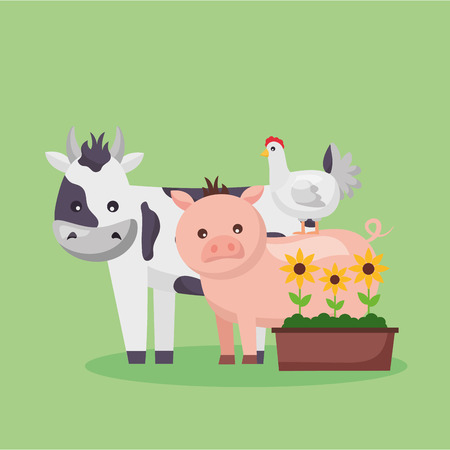cow pig chicken potted flowers farm fresh cartoon vector illustration Ilustrace