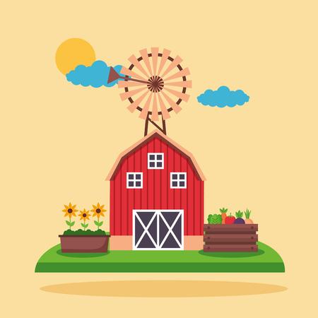 barn windmill flowers and vegetables farm fresh cartoon vector illustration