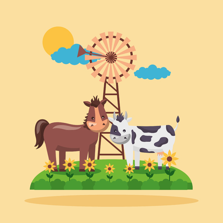 horse cow flowers windmill farm fresh cartoon vector illustration