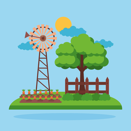 windmill carrot planting tree farm fresh cartoon vector illustration