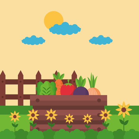 basket with vegetables flowers farm fresh cartoon vector illustration Banque d'images - 125214373