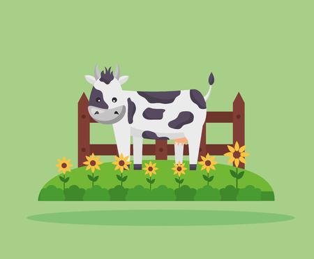 cow fence flowers garden farm fresh cartoon vector illustration 스톡 콘텐츠 - 125214374