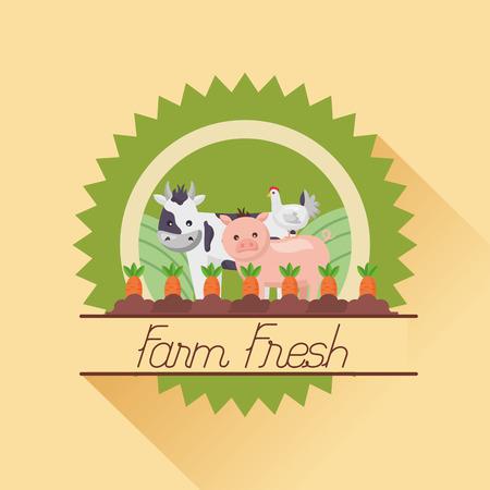 cow pig chicken carrto planting farm fresh cartoon vector illustration Ilustração
