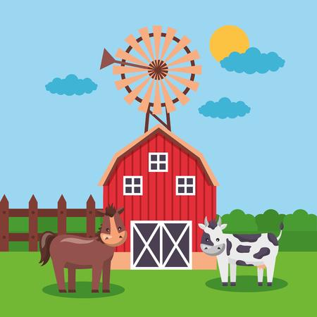 horse cow windmill and barn farm fresh cartoon vector illustration