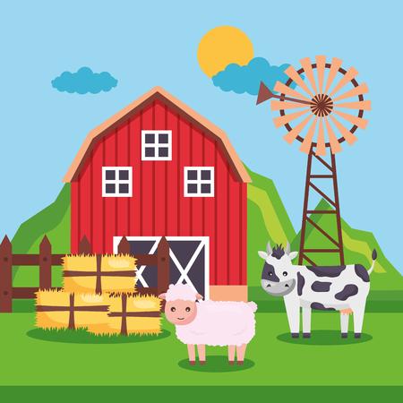 barn pig cow mill bales of hay farm fresh cartoon vector illustration