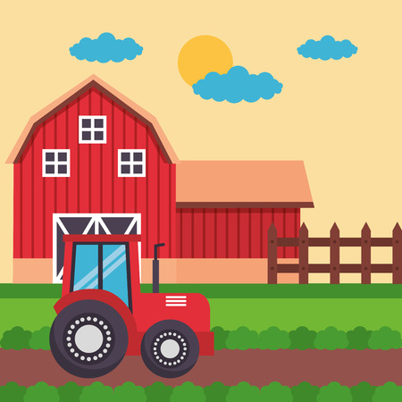 barn tractor in the field farm fresh cartoon vector illustration