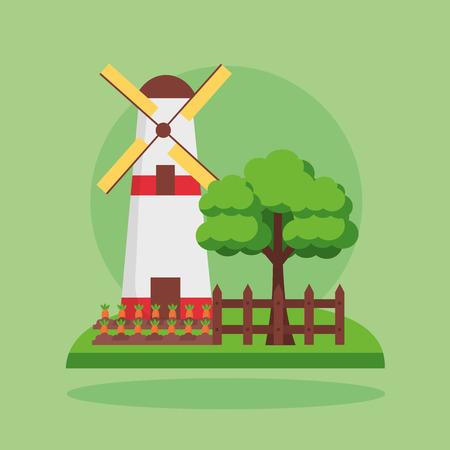 windmill carrots planting tree farm fresh cartoon vector illustration