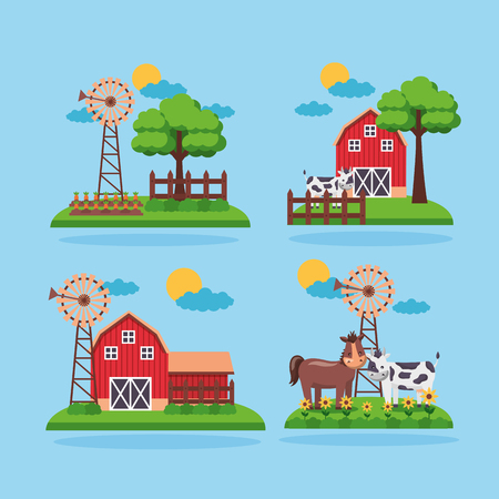 set of farm fresh cartoon barn animals mill trees vector illustration